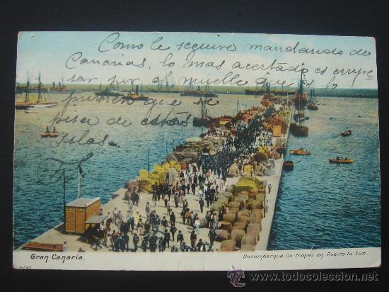"""""""GRAN CANARIA. DESEMBARQUE DE TROPAS EN EL PUERTO LA LUZ"""". ESCRITA Y FECHADA EL XI-XI-X. (Postales - España - Canarias Antigua (hasta 1939))"""