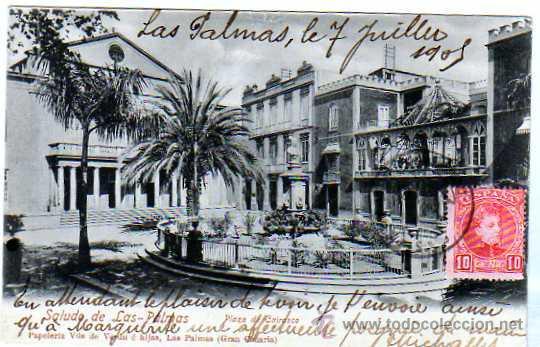 GRAN CANARIA. LAS PALMAS. SALUDO. PLAZA DE CAIRASCO. PAPELERIA VDA DE VERDU E HIJAS. CIRCULADA. (Postales - España - Canarias Antigua (hasta 1939))