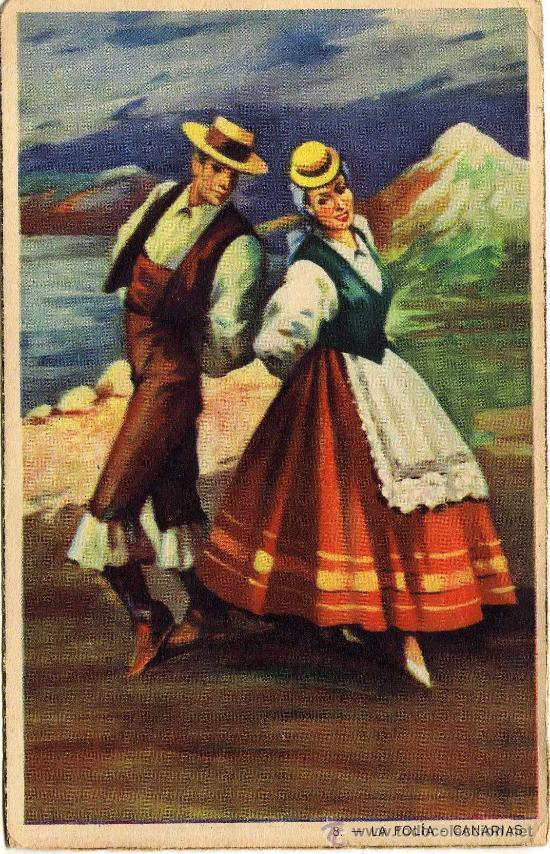 BONITA POSTAL - CANARIAS - LA FOLIA - PAREJA ATAVIADOS CON TRAJE REGIONAL BAILANDO (Postales - España - Canarias Moderna (desde 1940))