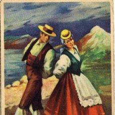 Postales: BONITA POSTAL - CANARIAS - LA FOLIA - PAREJA ATAVIADOS CON TRAJE REGIONAL BAILANDO. Lote 28225458