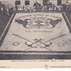 Postales: AÑO 1905: OROTAVA: ALFOMBRA DE FLORES NATURALES FRENTE AL AYUNTAMIENTO. BONITA POSTAL C.A. HERREROS.. Lote 262913195