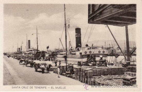 POSTALES ANTIGUAS. ISLAS CANARIAS. VISTA DEL MUELLE DE SANTA CRUZ DE TENERIFE. RASTRILLO PORTOBELLO (Postales - España - Canarias Antigua (hasta 1939))