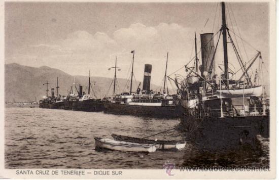 POSTALES ANTIGUAS. ISLAS CANARIAS. DIQUE SUR PUERTO DE SANTA CRUZ DE TENERIFE. RASTRILLO PORTOBELLO (Postales - España - Canarias Antigua (hasta 1939))