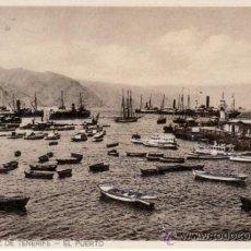 Postales: POSTALES ANTIGUAS. ISLAS CANARIAS. BARCOS EN EL PUERTO SANTA CRUZ DE TENERIFE. RASTRILLO PORTOBELLO. Lote 31681716