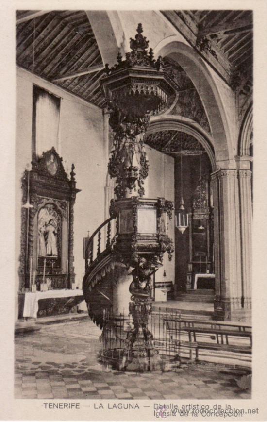 POSTALES ANTIGUAS. DETALLE ARTISTICO DE LA IGLESIA DE LA CONCEPCION DE LA LAGUNA. TENERIFE. CANARIAS (Postales - España - Canarias Antigua (hasta 1939))