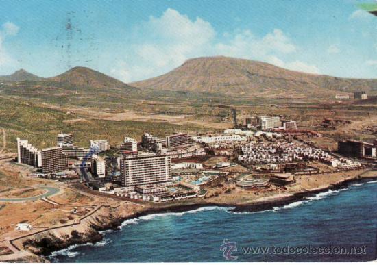 VISTA AEREA DE LA PLAYA DE LAS AMERICAS EN EL SUR DE SANTA CRUZ DE TENERIFE. RASTRILLO PORTOBELLO (Postales - España - Canarias Moderna (desde 1940))