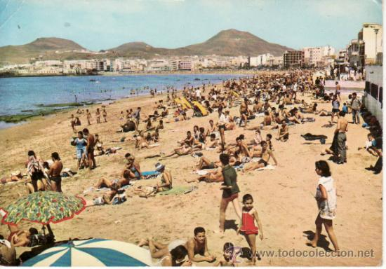 POSTAL. PLAYA DE LAS CANTERAS. ISLA DE GRAN CANARIA. ISLAS CANARIAS. ESPAÑA. RASTRILLO PORTOBELLO (Postales - España - Canarias Moderna (desde 1940))