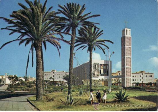 IGLESIA Y PARQUE. ISLA DE GRAN CANARIA. ISLAS CANARIAS. ESPAÑA. RASTRILLO PORTOBELLO (Postales - España - Canarias Moderna (desde 1940))