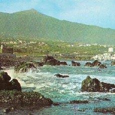 Postales: PUERTO DE LA CRUZ (TENERIFE), DETALLE DE LA COSTA Y TEIDE - ESCUDO DE ORO - CIRCULADA. Lote 33984847