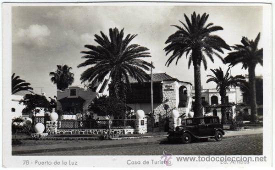 BONITA POSTAL - PUERTO DE LA LUZ (CANARIAS) - CASA DE TURISMO - COCHE DE EPOCA - ED. ARRIBAS (Postales - España - Canarias Moderna (desde 1940))