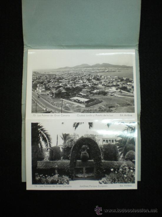 Postales: Bloq. 10 Postales. Recuerdo de Las Palmas de Gran Canaria. VIII. Completo. Años 40. - Foto 2 - 38719720