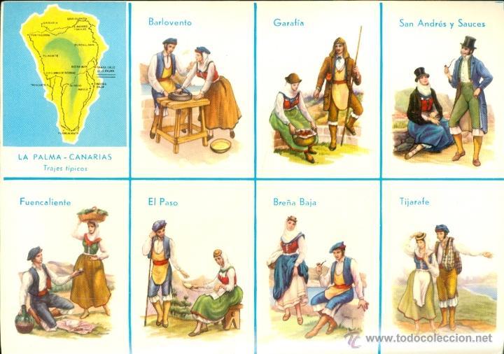Postales: LA PALMA. 13 postales color, con dibujos de trajes tipicos, sin circular. 1965 - Foto 2 - 26443954