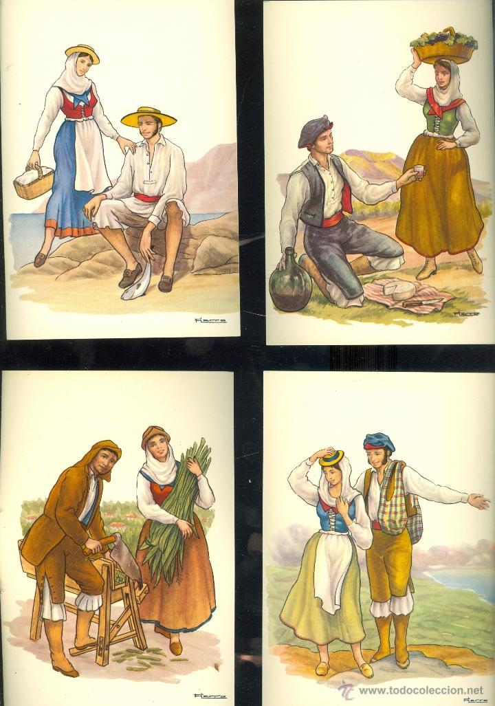 Postales: LA PALMA. 13 postales color, con dibujos de trajes tipicos, sin circular. 1965 - Foto 3 - 26443954