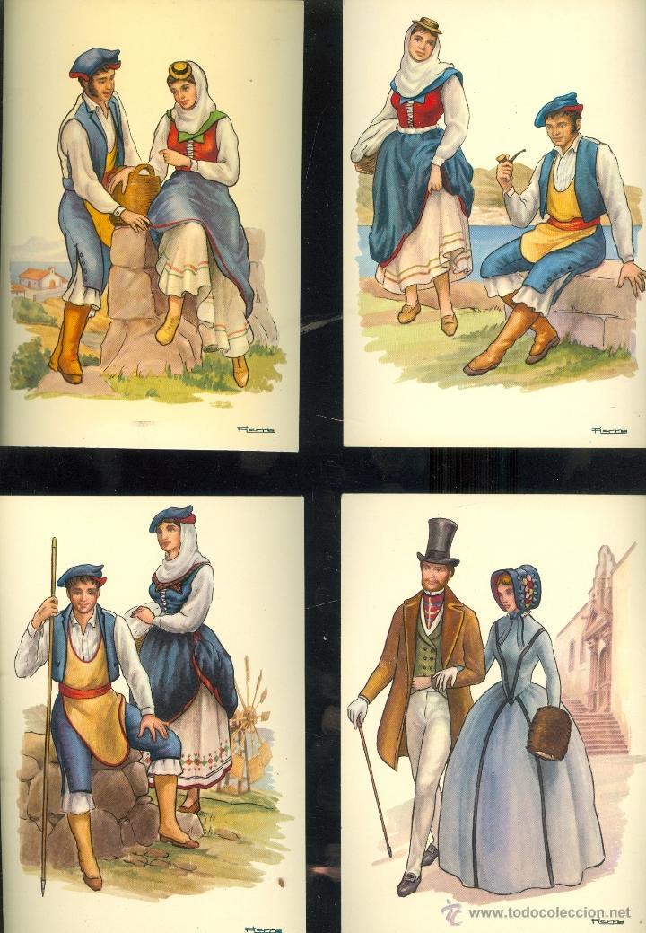 Postales: LA PALMA. 13 postales color, con dibujos de trajes tipicos, sin circular. 1965 - Foto 4 - 26443954
