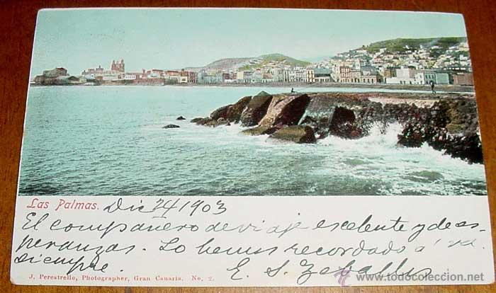 ANTIGUA POSTAL DE LAS PALMAS GRAN CANARIA - CIRCULADA DESDE LAS PALMAS A MONTEVIDEO EN 1903 - SIN DI (Postales - España - Canarias Antigua (hasta 1939))