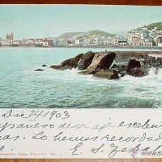 Postales: ANTIGUA POSTAL DE LAS PALMAS GRAN CANARIA - CIRCULADA DESDE LAS PALMAS A MONTEVIDEO EN 1903 - SIN DI. Lote 39522594