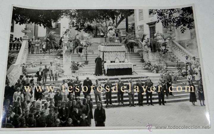ANTIGUA FOTOGRAFIA DE ICOD (TENERIFE) MILITARES Y AUTORIDADES CIVILES Y RELIGIOSAS Y GRUPO DE LAS FU (Postales - España - Canarias Antigua (hasta 1939))