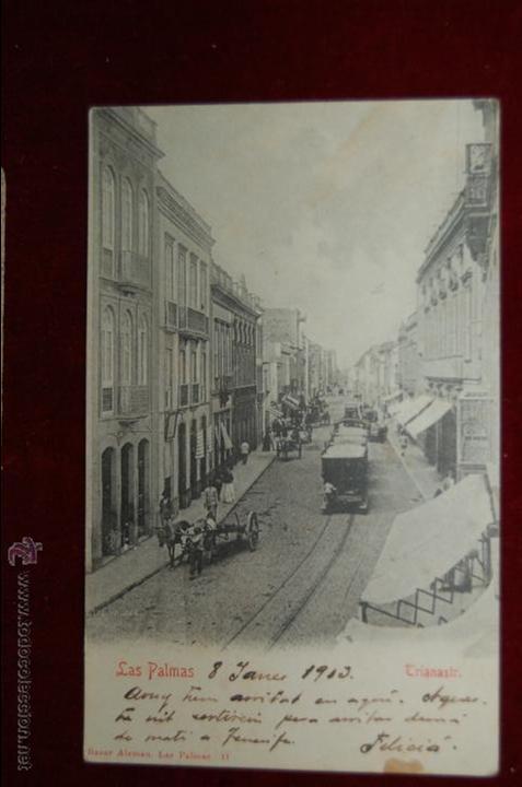 ANTIGUA POSTAL LAS PALMAS. BAZAR ALEMAN. CIRCULADA (Postales - España - Canarias Antigua (hasta 1939))