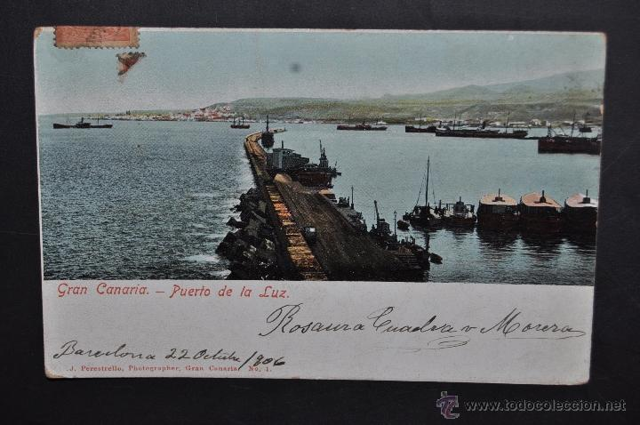 ANTIGUA POSTAL DE GRAN CANARIA. PUERTO DE LA LUZ. FOT. J. PERESTRELLO. CIRCULADA (Postales - España - Canarias Antigua (hasta 1939))