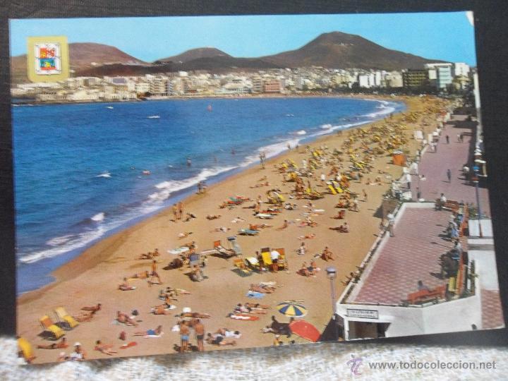 LAS PALMAS DE GRAN CANARIA. PLAYA DE LAS CANTERAS. POSTAL ESCRITA. (Postales - España - Canarias Moderna (desde 1940))
