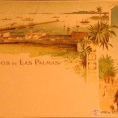 Postales - RECUERDO SALUDOS DE LAS PALMAS - ILUSTRADA SIN CIRCULAR Y DORSO SIN DIVIDIR CON ESCUDO REAL - 47194485