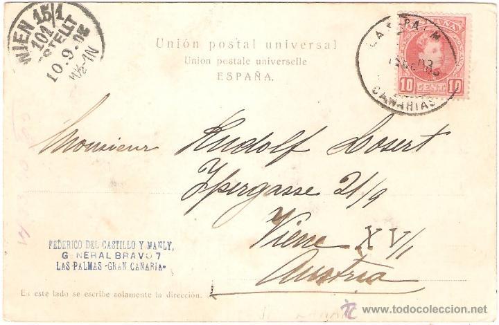 Postales: LAS PALMAS GRAN CANARIA CAPITANIA GENERAL Y PARQUE DE SAN TELMO 1902. - Foto 2 - 44213517