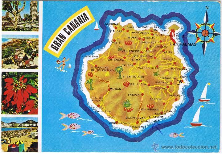 Mapa Isla De Gran Canaria Circulada Buy Postcards From Canary