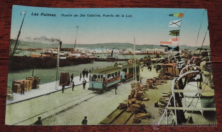 POSTAL DE LAS PALMAS, MUELLE DE STA. CATALINA, PUERTO DE LA LUZ, ED. RODRIGUEZ BROS, N. 42, NO CIRC (Postales - España - Canarias Moderna (desde 1940))