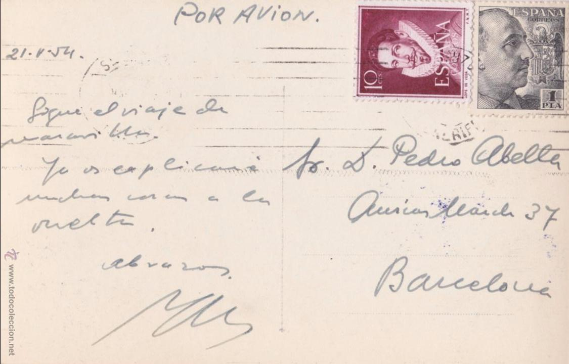 Postales: P- 4014. POSTAL DE SANTA CRUZ DE TENERIFE. RAMBLA GRAL FRANCO. BAENA. - Foto 2 - 53661095