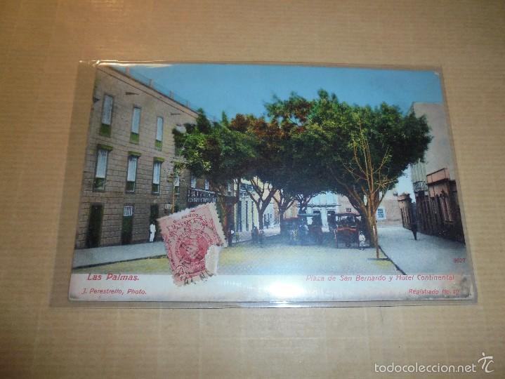 LAS PALMAS PLAZA DE SAN BERNARDO Y HOTEL CONTINENTAL J. PERESTRELLO PHOTO REGISTRADO Nº 10 CIRCULADA (Postales - España - Canarias Moderna (desde 1940))