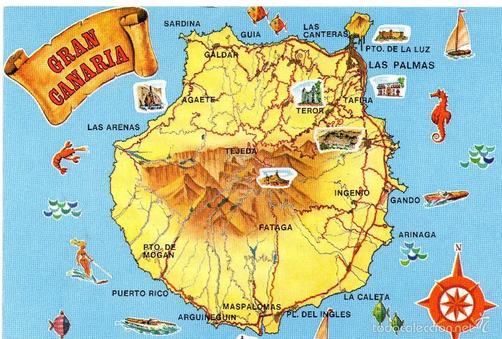 mapa gran canária mapa gran canaria   Comprar Postales de Canarias en todocoleccion  mapa gran canária