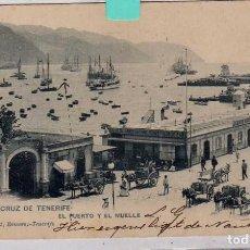 Postales: STA CRUZ DE TENERIFE. EL PUERTO Y EL MUELLE 18 LIT ROMERO. CIRCULADA EN EL SIGLO XIX 1900. Lote 61559500