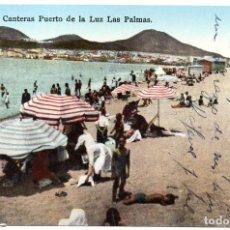 Postales: PS6909 LAS PALMAS 'PLAYA DE LAS CANTERAS. PUERTO DE LA LUZ'. RODRIGUES BROS. 1946. Lote 61919528