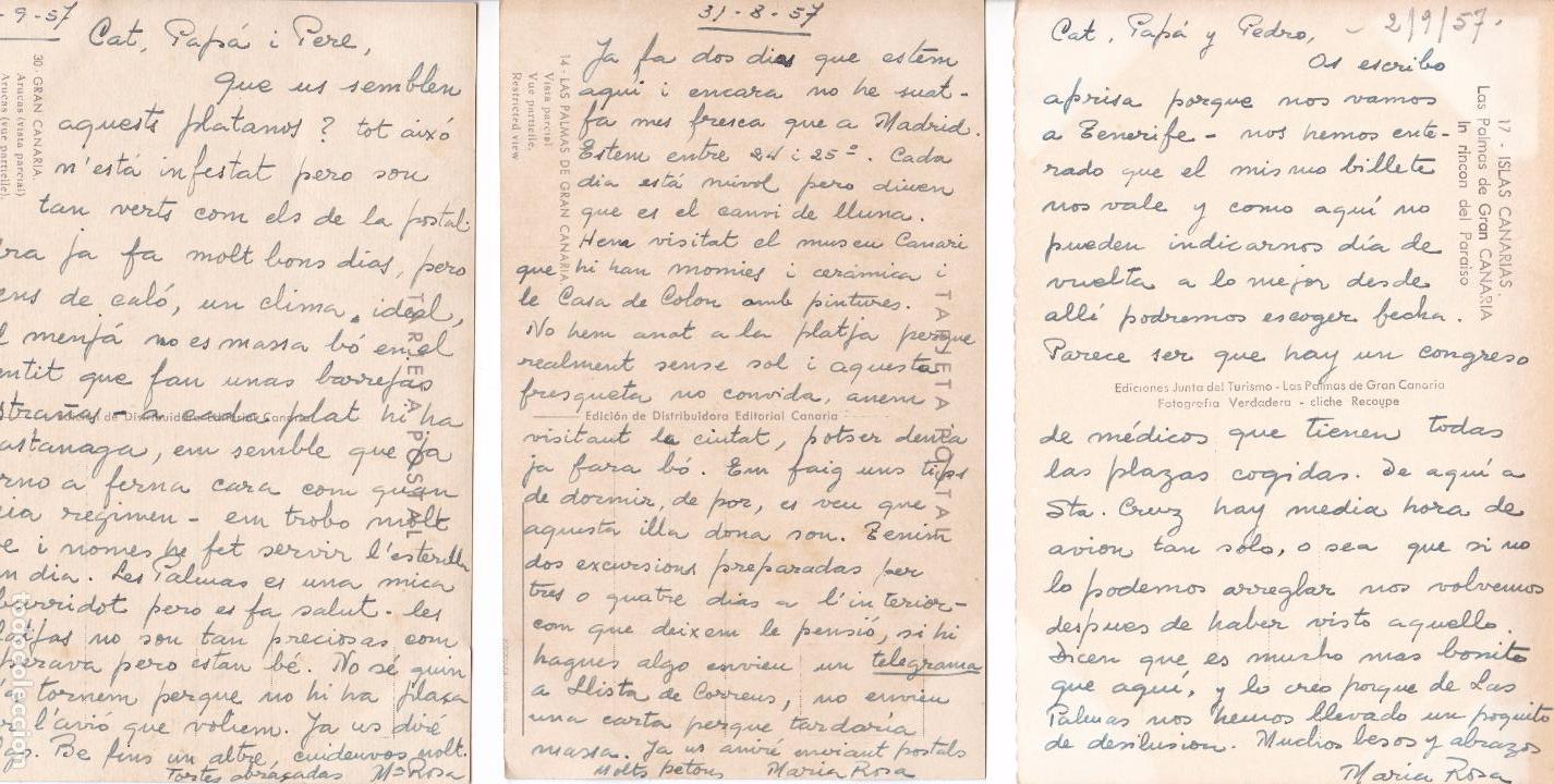 Postales: P- 6182. LOTE DE 5 POSTALES ISLAS CANARIAS. AÑO 1957. - Foto 3 - 62056580