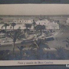 Postales: PUERTO DE LA LUZ, LAS PALMAS, PLAZA Y MUELLE DE SANTA CATALINA. Lote 62213360