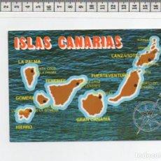 Postales: 23.460 TARJETA POSTAL, LAS PALMAS DE GRAN CANARIA, MAPA DE ISLAS CANARIAS. Lote 64611879