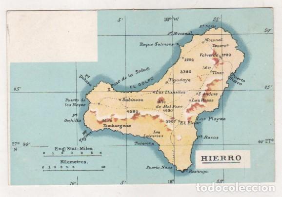 Mapa De El Hierro.Postal Antigua Con Mapa De La Isla Del Hierro Sin Circular Num 3705 No Figura Editor