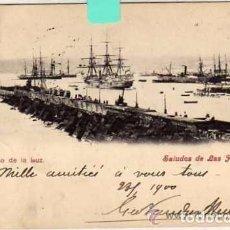 Postales: PUERTO DE LA LUZ. SALUDOS DE LAS PALMAS. NANSON. CIRCULADA EL SIGLO XIX.. Lote 72215639