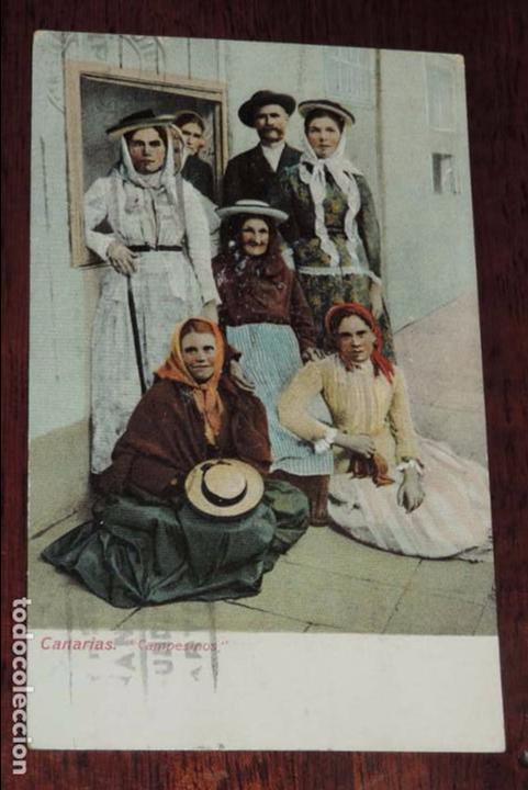POSTAL DE CANARIAS, CAMPESINOS. CIRCULADA. (Postales - España - Canarias Antigua (hasta 1939))