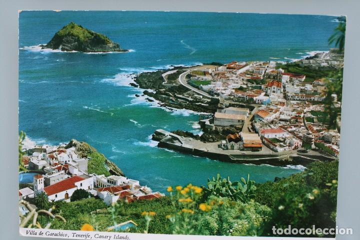 Postales: ANTIGUAS POSTALES SANTA CRUZ DE TENERIFE: VISTA PANORAMICA VILLA GARACHICO – AÑOS 60 CIRCULADAS - Foto 3 - 87141928