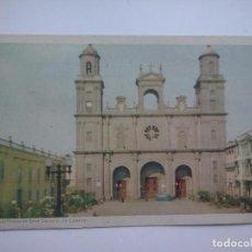 Postales: LAS PALMAS DE GRAN CANARIA - LA CATEDRAL - POSTAL CIRCULADA EN 1952. Lote 87649372
