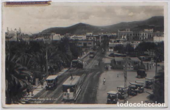 POSTAL PUERTO DE LA LUZ LAS PALMAS GRAN CANARIA VISTA PARCIAL TRANVIAS COCHES ANTIGUOS ED. BAENA (Postales - España - Canarias Antigua (hasta 1939))