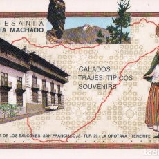 Postales: POSTAL OROTAVA - TENERIFE - ARTESANIA TRAJES TÍPICOS ELADIA MACHADO - SELLO HOTEL SAN FELIPE. Lote 93040405