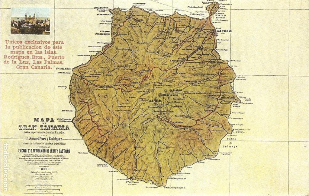 Mapa De Gran Canaria Buy Old Postcards From The Canary Islands