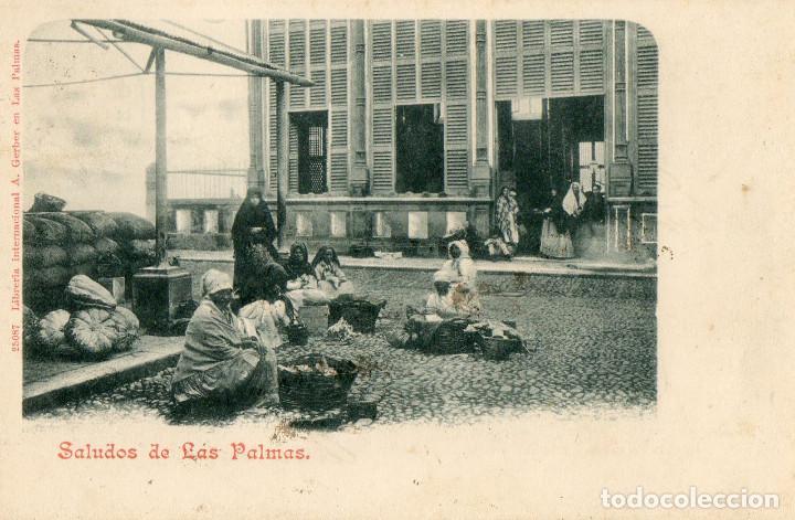 POSTAL ANTIGUA SALUDOS DE LAS PALMAS (Postales - España - Canarias Antigua (hasta 1939))