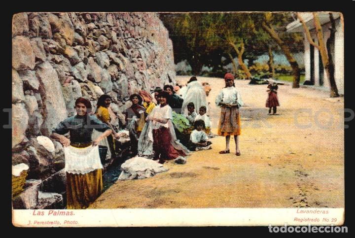 LAS PALMAS LAVANDERAS J PERESTRELLO Nº29- ANTIGUA TARJETA POSTAL ORIGINAL DE EPOCA CA 1900 (Postales - España - Canarias Antigua (hasta 1939))