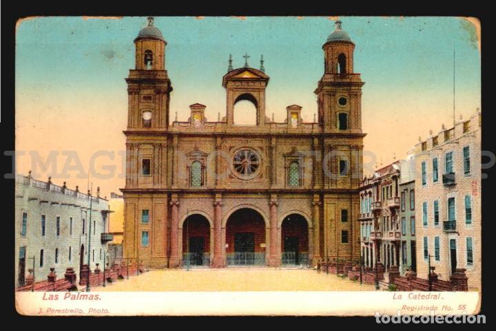 LAS PALMAS CATEDRAL J PERESTRELLO Nº55- ANTIGUA TARJETA POSTAL ORIGINAL DE EPOCA CA 1900 (Postales - España - Canarias Antigua (hasta 1939))