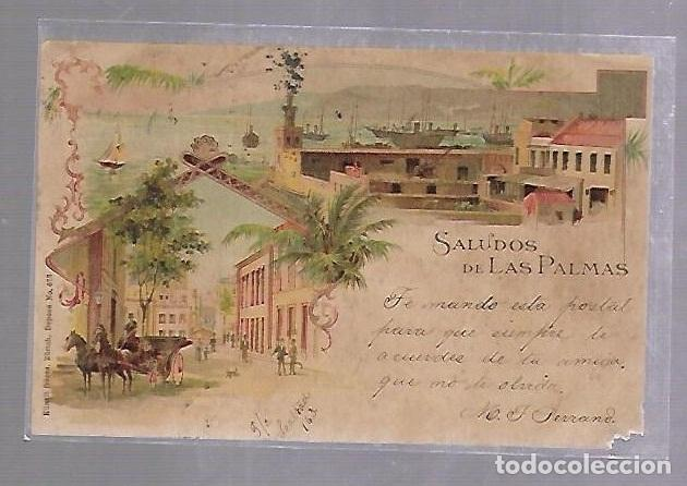 TARJETA POSTAL DE LAS PALMAS - SALUDOS DESDE LAS PALMAS. KUNZLI FRERES. Nº 673 (Postales - España - Canarias Antigua (hasta 1939))