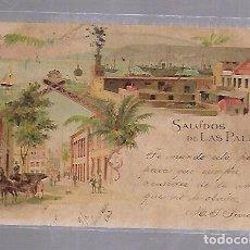 Postales: TARJETA POSTAL DE LAS PALMAS - SALUDOS DESDE LAS PALMAS. KUNZLI FRERES. Nº 673. Lote 115689011