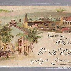 Postales: TARJETA POSTAL DE LAS PALMAS - SALUDOS DESDE LAS PALMAS. KUNZLI FRERES. Nº 673. Lote 115689063
